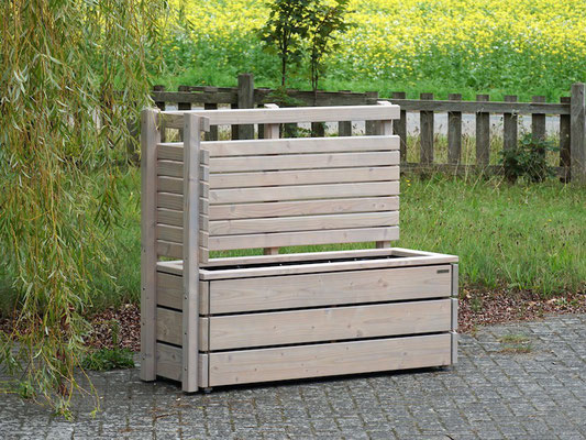 Pflanzkasten Holz Ecke mit Sichtschutz nach Maß, Oberfläche: Transparent Grau