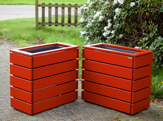 Pflanzkasten / Pflanzkübel Holz M, Oberfläche: Deckend Geölt Skandinavisch Rot