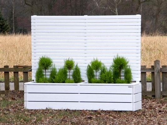 Pflanzkasten Holz Lang mit Sichtschutz, Länge: 212 cm, Höhe: 180 cm, Oberfläche: Weiß