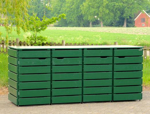 4er Mülltonnenbox / Mülltonnenverkleidung Holz, Oberfläche: Tannengrün (RAL 6009)