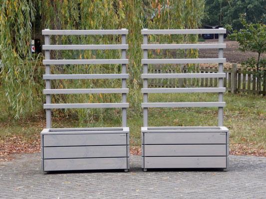 Pflanzkasten Holz mit Rankgitter / Spalier, Länge: 112 cm, Oberfläche: Transparent Geölt Grau