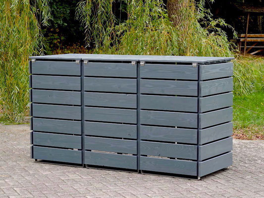 3er Mülltonnenbox / Mülltonnenverkleidung Holz, Oberfläche: Steingrau (RAL 7012)