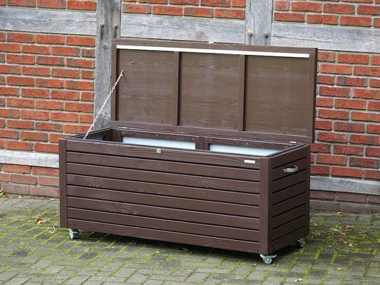 Auflagenbox / Kissenbox Holz nach Maß, Oberfläche: Schokoladenbraun RAL 8017, atmungsaktiv & wasserdicht