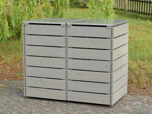 Rückseite 2er Mülltonnenbox Edelstahl / Holz - Deckel, Oberfläche: Transparent Geölt Grau