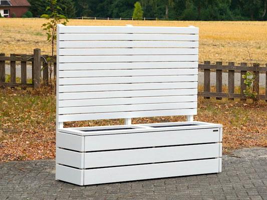 Pflanzkasten Holz Lang M mit Sichtschutz, Länge: 172 cm, Höhe: 150 cm, Oberfläche: Weiß