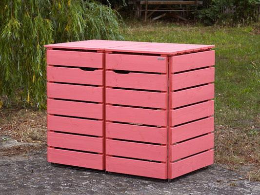 2er Mülltonnenbox / Mülltonnenverkleidung Holz, Oberfläche: RAL 3014 Altrosa