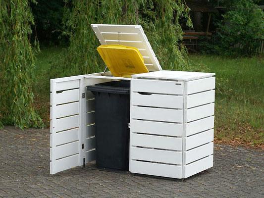 2er Mülltonnenbox / Mülltonnenverkleidung Holz, Oberfläche: Weiß