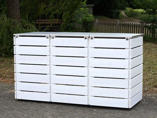3er Mülltonnenbox Edelstahl / Holz - Deckel, Rückseite, Deckend Geölt Weiß
