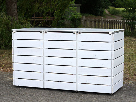 3er Mülltonnenbox Edelstahl / Holz - Deckel, Oberfläche: Weiß