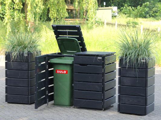 2er Mülltonnenbox / Mülltonnenverkleidung Holz, Oberfläche: Schwarzgrau