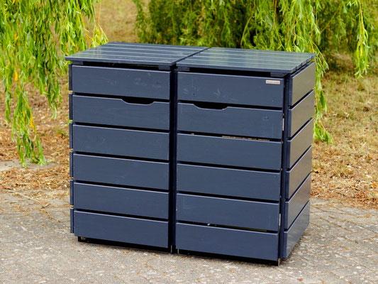 2er Mülltonnenbox / Mülltonnenverkleidung Holz, Oberfläche: Deckend Geölt Anthrazit Grau