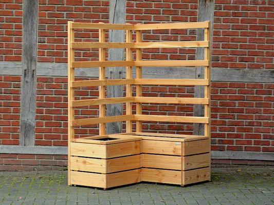 Pflanzkasten Holz Ecke mit Rankgitter / Spalier nach Maß, Oberfläche: Natur Geölt