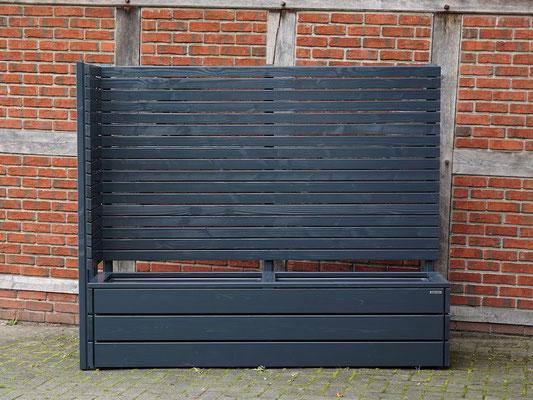 Pflanzkasten Holz Ecke mit Sichtschutz nach Maß, Oberfläche: Anthrazit - Höhe: 180 cm