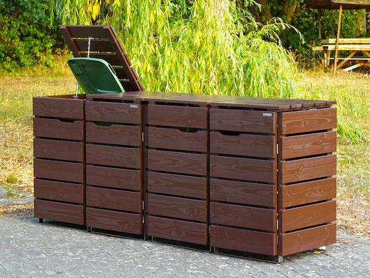 4er Mülltonnenbox / Mülltonnenverkleidung Holz, Oberfläche: Dunkelbraun (RAL 8017)
