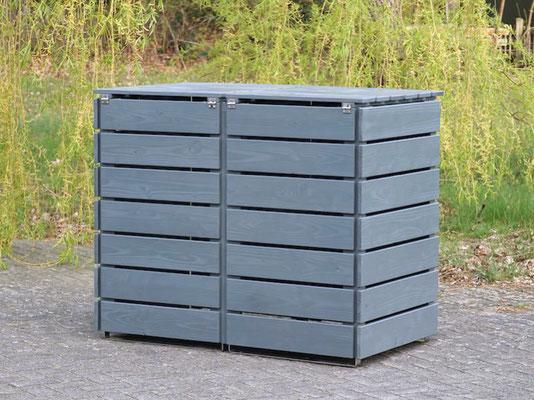 2er Mülltonnenbox / Mülltonnenverkleidung Holz 240 L, Oberfläche: Steingrau