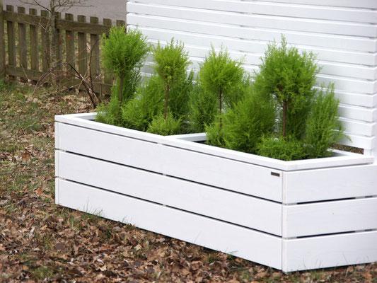 Pflanzkasten Holz Lang mit Sichtschutz, Länge: 212 cm, Höhe: 180 cm, Oberfläche: Deckend Geölt Weiß
