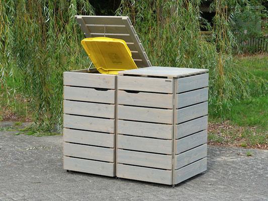 2er Mülltonnenbox / Mülltonnenverkleidung 240 L Holz, Oberfläche: Transparent Geölt Grau