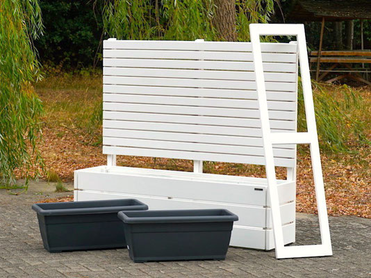 Pflanzkasten Holz Lang M mit Sichtschutz, Länge: 172 cm, Höhe: 150 cm, Oberfläche: Deckend Weiß
