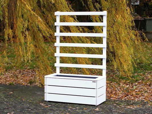 Pflanzkasten Holz L mit Rankgitter / Spalier, Maße: 112 x 55 x 180 cm, Oberfläche: Deckend Geölt Weiß