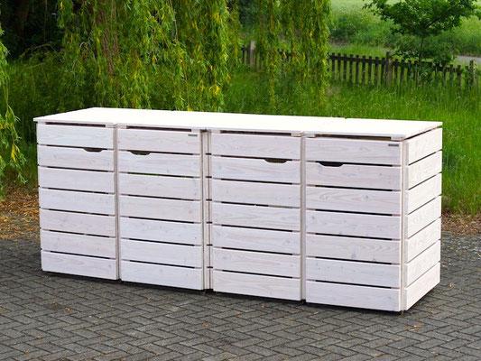 4er Mülltonnenbox / Mülltonnenverkleidung Holz 240 L, Oberfläche: Transparent Weiß