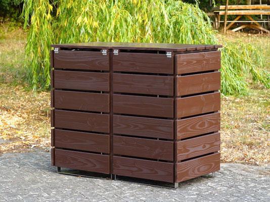 Rückseite 2er Mülltonnenbox / Mülltonnenverkleidung Holz, Oberfläche: Dunkelbraun / Schokoladenbraun (RAL 8017)