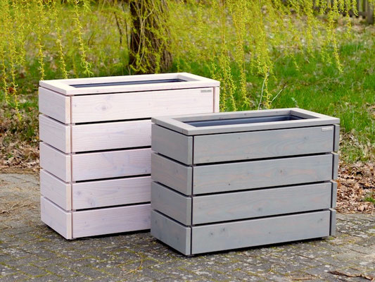 Pflanzkasten / Pflanzkübel Holz M, Oberfläche: Transparent Geölt Grau