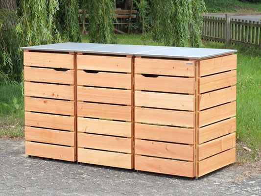 3er Mülltonnenbox / Mülltonnenverkleidung Holz mit Edelstahl - Deckel, für 120 L & 240 L Tonnen, Oberfläche: Natur Geölt