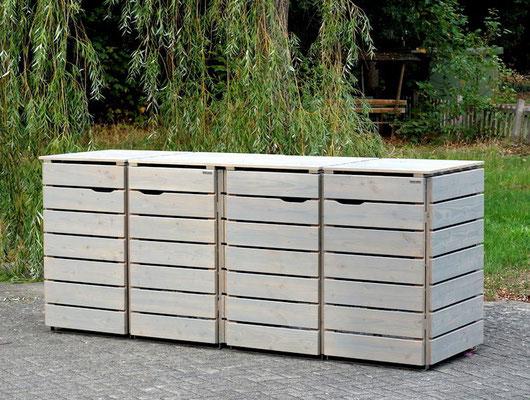 4er Mülltonnenbox / Mülltonnenverkleidung 240 L Holz, Oberfläche: Transparent Geölt Grau