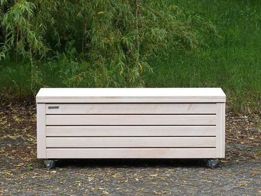Truhenbank / Sitzbank Holz M, Oberfläche: Transparent Weiß