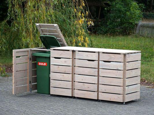 4er Mülltonnenbox / Mülltonnenverkleidung 120 L Holz, Oberfläche: Transparent Grau