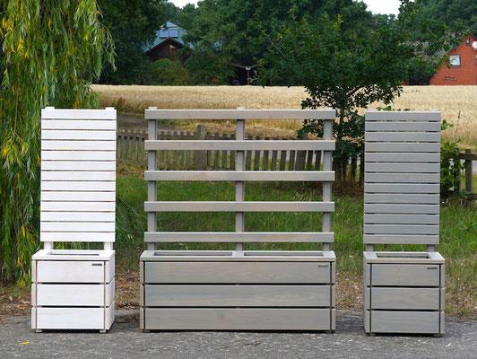 Pflanzkasten Holz Lang S mit Rankgitter / Spalier, Maße: 132 x 41 x 150 cm, Oberfläche: Transparent Grau