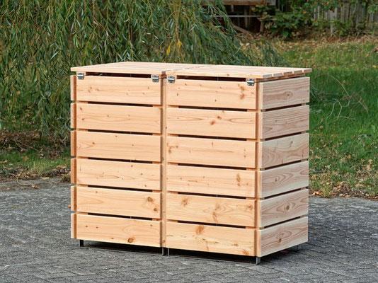 Rückseite 2er Mülltonnenbox / Mülltonnenverkleidung 120 L Holz, Oberfläche: Natur