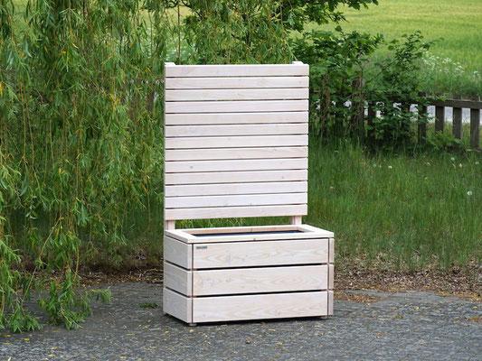 Pflanzkasten / Pflanzkübel Holz M mit Sichtschutz, Länge: 92 cm, Höhe: 150 cm, Oberfläche: Transparent Weiß