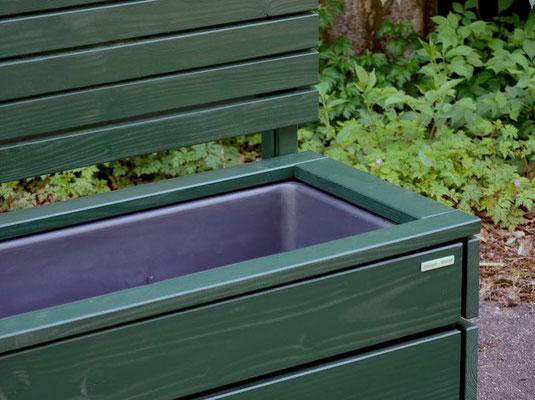 Pflanzkasten Holz Lang mit Sichtschutz, Länge: 212 cm, Höhe: 180 cm, Oberfläche: Tannengrün