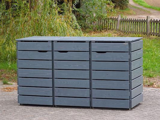 3er Mülltonnenbox / Mülltonnenverkleidung Holz, Oberfläche: Deckend Geölt Steingrau
