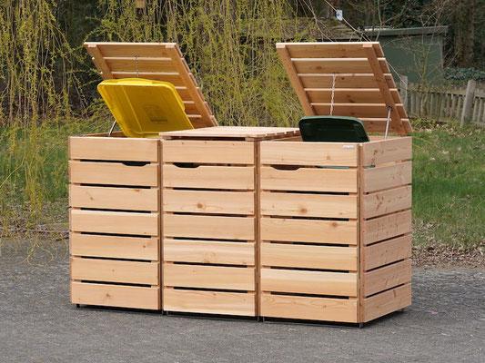 3er Mülltonnenbox / Mülltonnenverkleidung Holz 240 L, Oberfläche: Natur Geölt