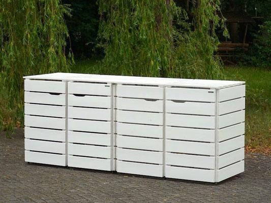 4er Mülltonnenbox / Mülltonnenverkleidung Holz 240 L, Oberfläche: Weiß (RAL 9016)