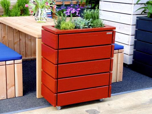 Pflanzkasten / Pflanzkübel Holz S, Oberfläche: Deckend Geölt Skandinavisch Rot