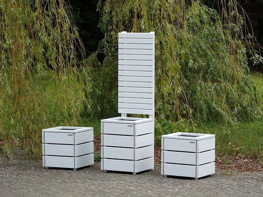 Pflanzkübel / Pflanzkasten Holz M, Oberfläche: Lichtgrau