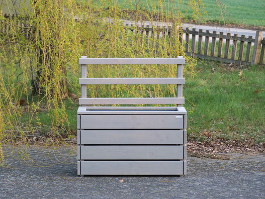 Pflanzkasten / Pflanzkübel Holz L mit Rankgitter / Spalier, Oberfläche: Transparent Grau
