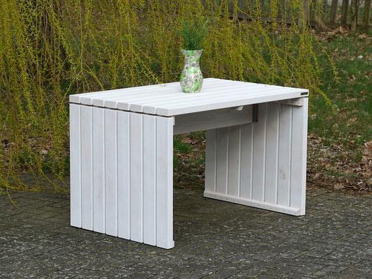 Gartentisch 1, Größe: 120 x 80 cm, Oberfläche: Transparent Weiß