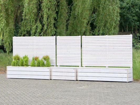 Pflanzkasten Holz mit Sichtschutz, Länge: 112 cm & 212 cm, Höhe: 180 cm, Oberfläche: Transparent Weiß