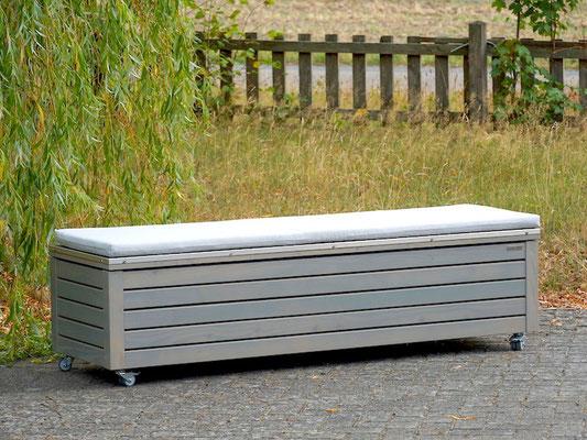 Truhenbank / Sitztruhe nach Maß Holz mit Edelstahl - Deckel, Oberfläche: Transparent Grau, atmungsaktiv & wasserdicht, mit Polster Dekor: Grau