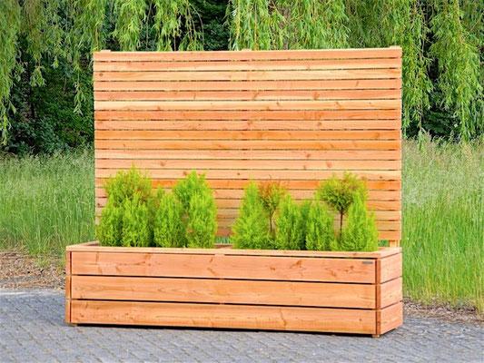 Pflanzkasten Holz Lang mit Sichtschutz, Länge: 212 cm, Höhe: 180 cm, Oberfläche: Natur Geölt