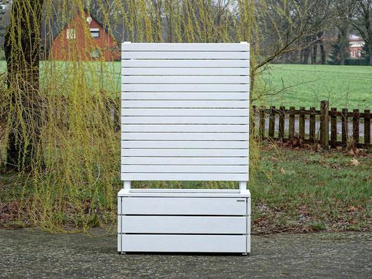 Pflanzkasten Holz mit Sichtschutz, Länge: 112 cm, Höhe: 180 cm, Oberfläche: Lichtgrau