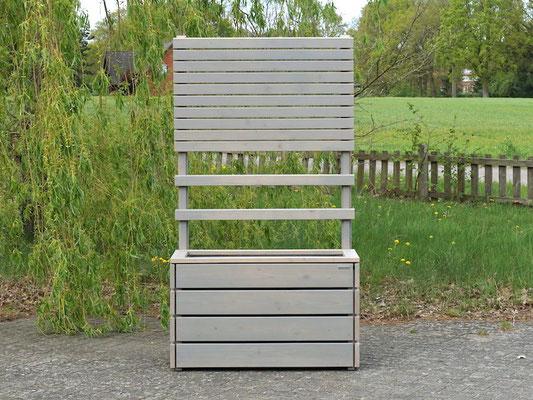 Pflanzkasten Holz L mit Rankgitter / Spalier + Sichtschutz, Maße: 112 x 55 x 200 cm, Oberfläche: Transparent Grau