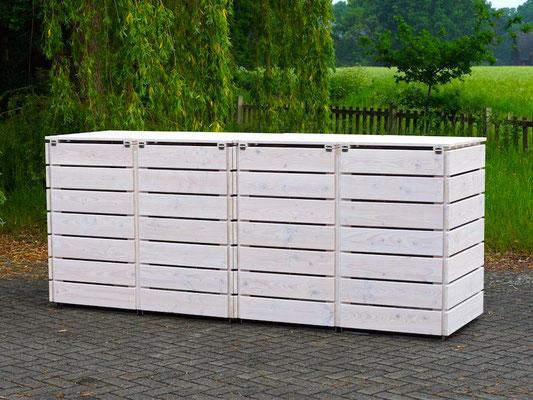 4er Mülltonnenbox / Mülltonnenverkleidung Holz, Oberfläche: Transparent Geölt Weiß