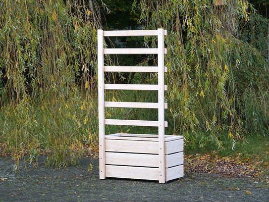 Rückseite Pflanzkasten Holz M mit Rankgitter / Spalier, Maße: 92 x 48 x 180 cm, Oberfläche: Transparent Weiß