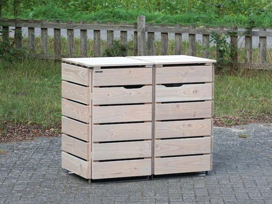 2er Mülltonnenbox / Mülltonnenverkleidung 120 L Holz, Oberfläche: Transparent Grau