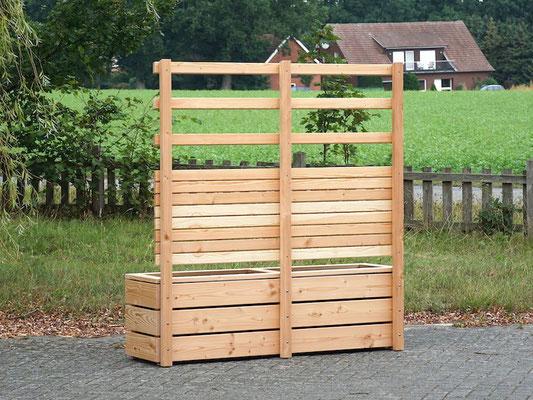 Rückseite Pflanzkasten mit Rankgitter / Sichtschutz Holz nach Maß, Oberfläche: Natur Geölt